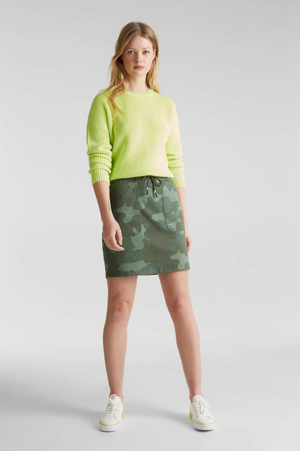 edc - Stretch skirt with camouflage