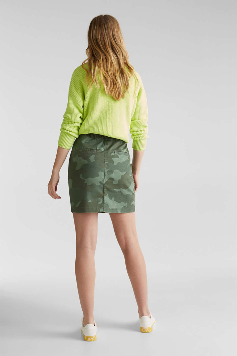 Stretch skirt with camouflage, KHAKI GREEN, detail image number 3
