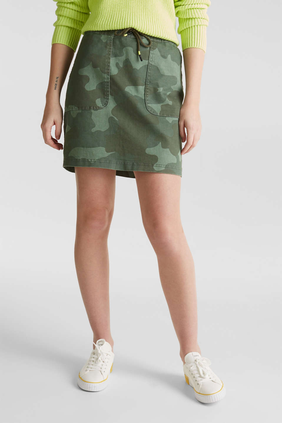 Stretch skirt with camouflage, KHAKI GREEN, detail image number 5