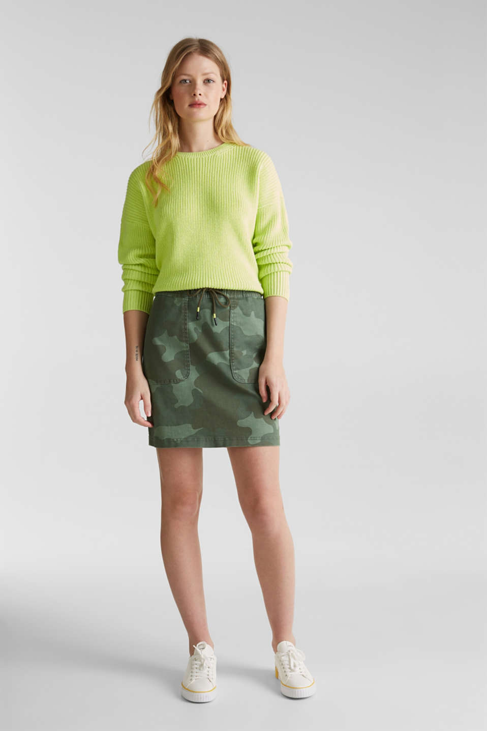 Stretch skirt with camouflage, KHAKI GREEN, detail image number 1
