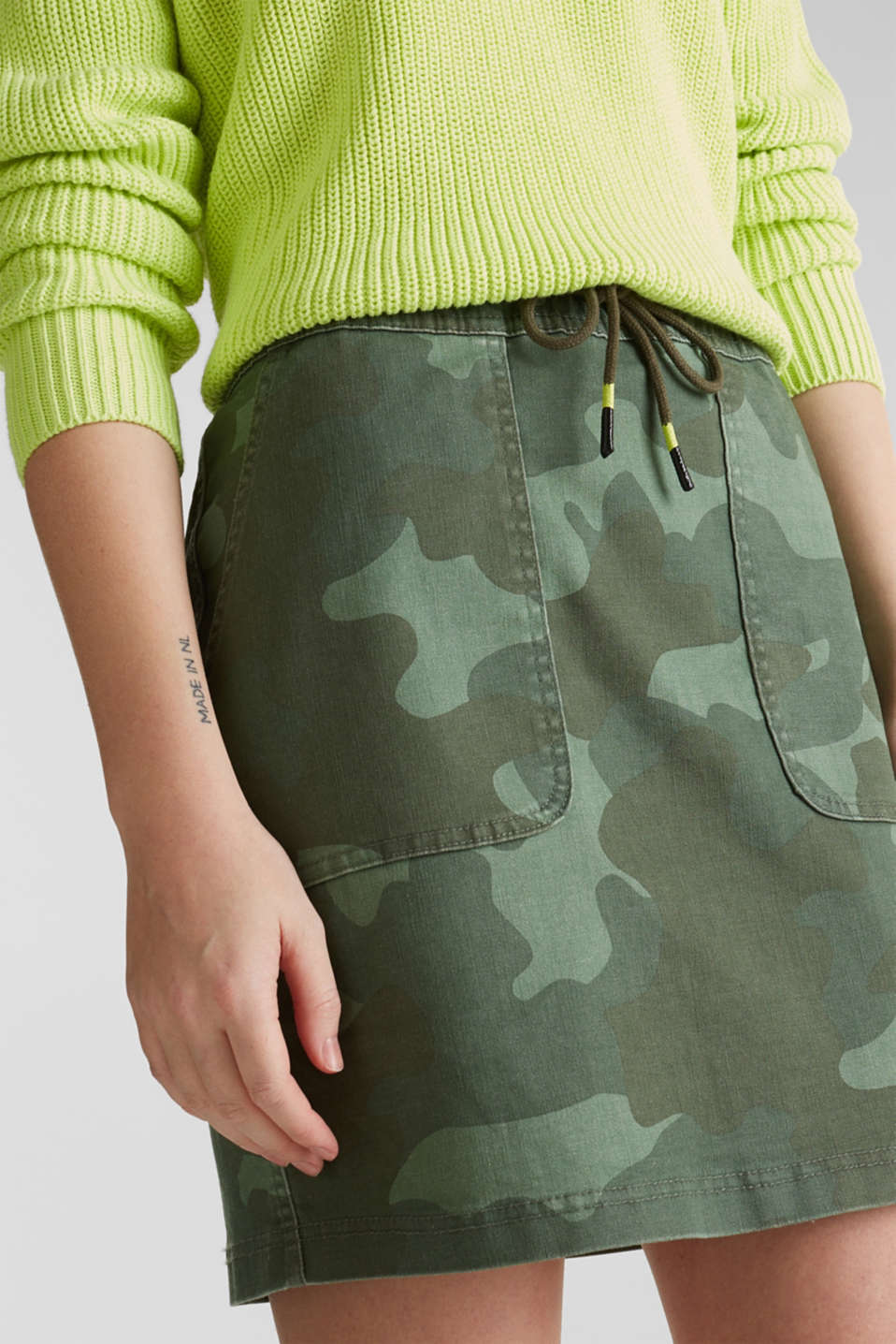 Stretch skirt with camouflage, KHAKI GREEN, detail image number 2
