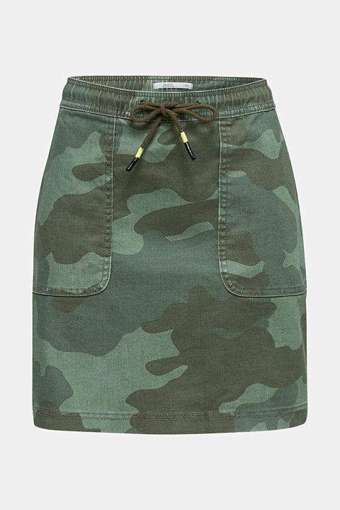Stretch skirt with camouflage