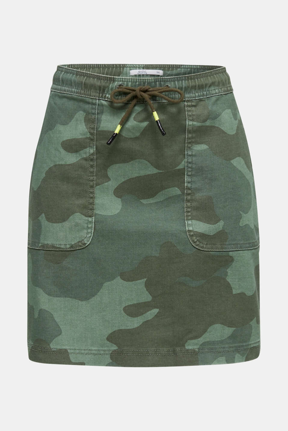 Stretch skirt with camouflage, KHAKI GREEN, detail image number 6