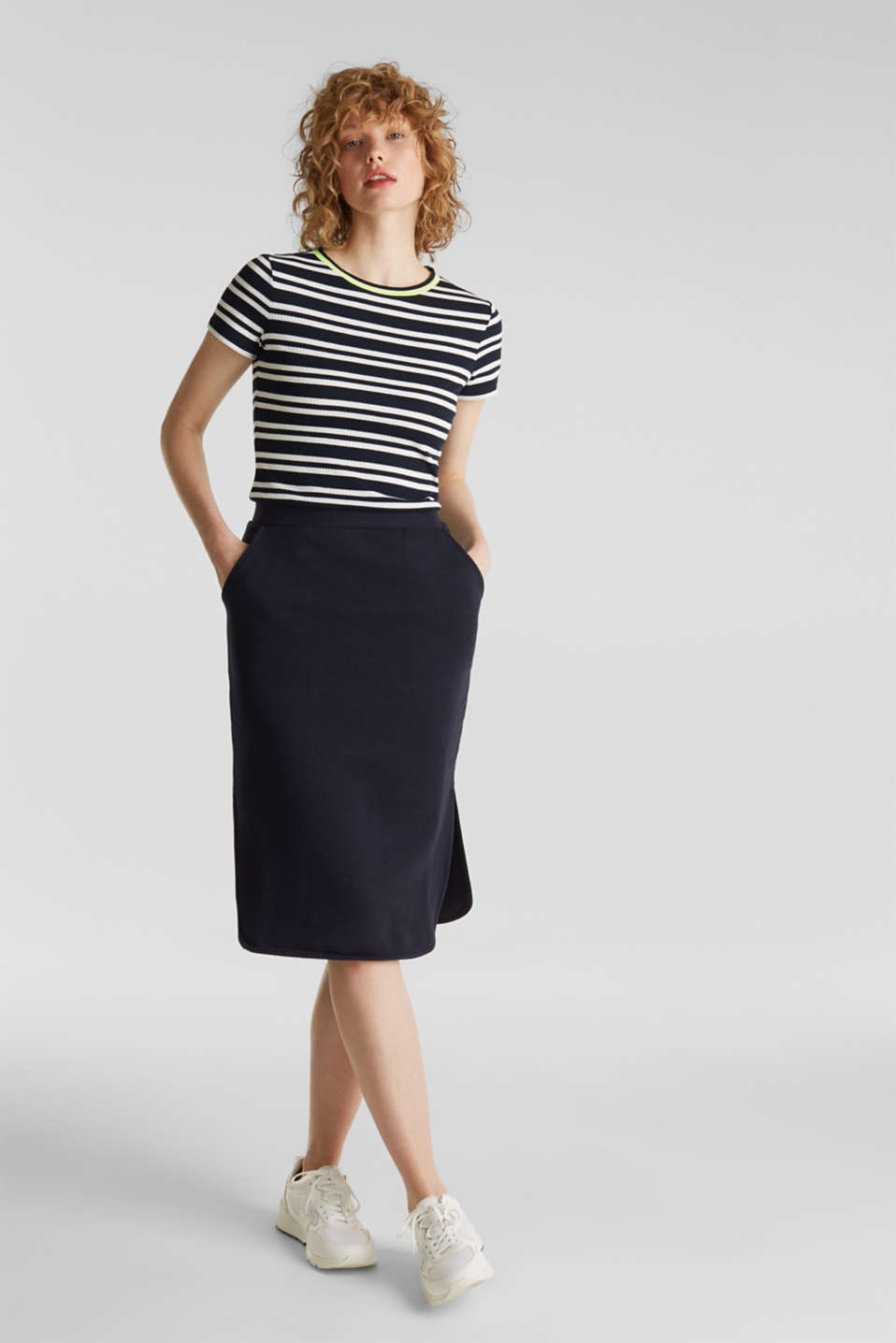 Pencil skirt made of sweatshirt fabric, NAVY, detail image number 0