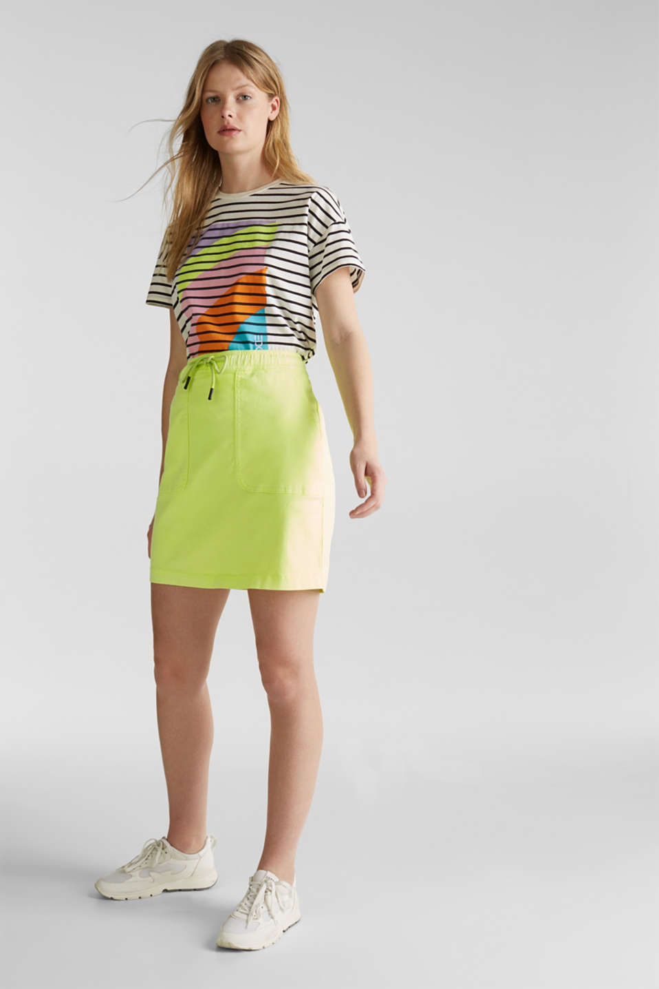 NEON skirt with sporty details, LIME YELLOW, detail image number 0