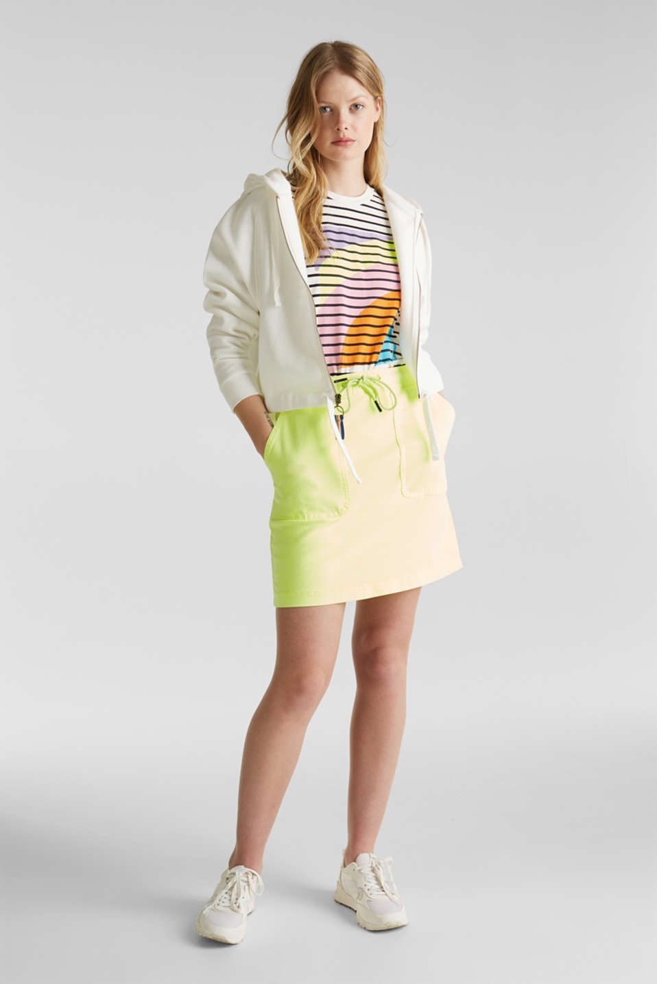 NEON skirt with sporty details, LIME YELLOW, detail image number 1