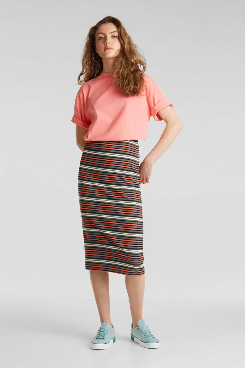 Pencil skirt with a ribbed texture, KHAKI GREEN, detail image number 0