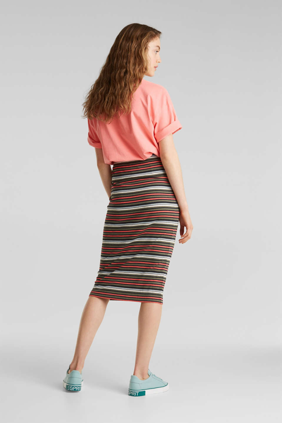 Pencil skirt with a ribbed texture, KHAKI GREEN, detail image number 2