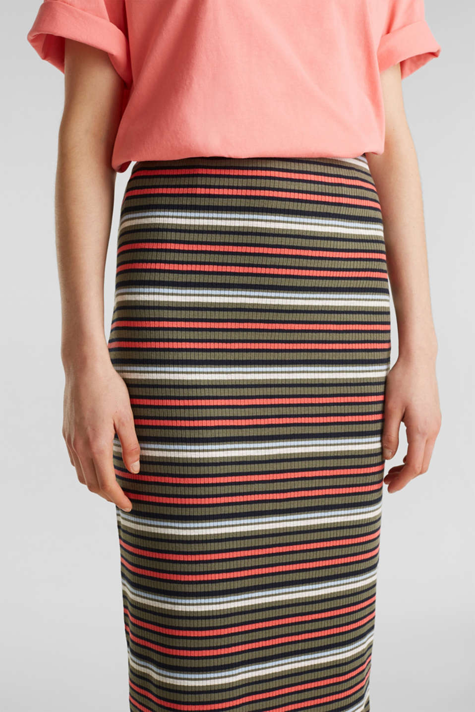 Pencil skirt with a ribbed texture, KHAKI GREEN, detail image number 1