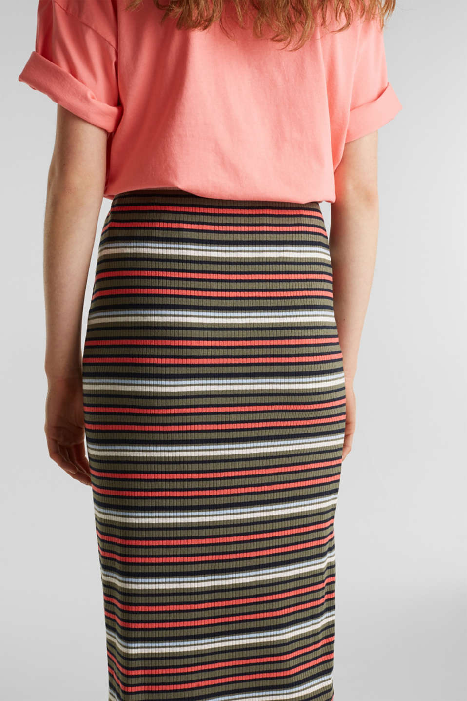 Pencil skirt with a ribbed texture, KHAKI GREEN, detail image number 4