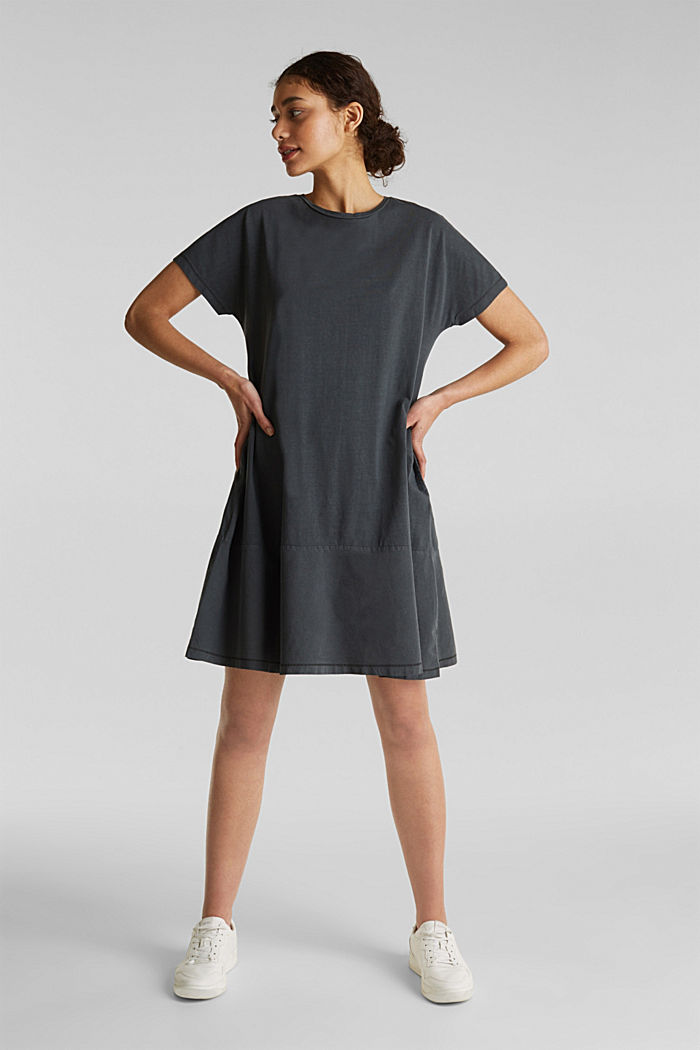 Fabric blend dress with an A-line, BLACK, detail image number 0