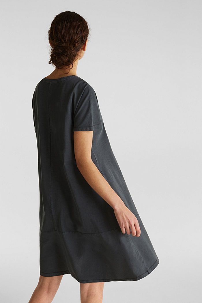 Fabric blend dress with an A-line, BLACK, detail image number 2
