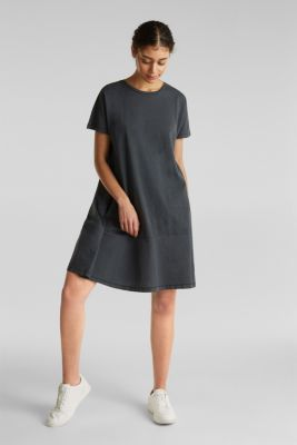 Fabric blend dress with an A-line, BLACK, detail
