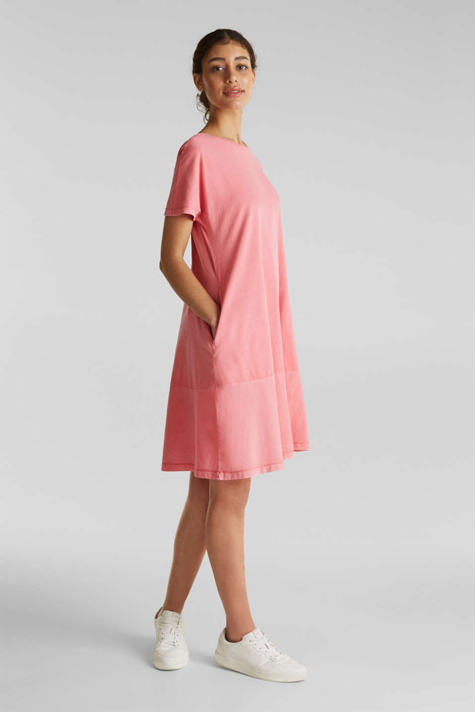 Fabric blend dress with an A-line, CORAL, detail image number 0