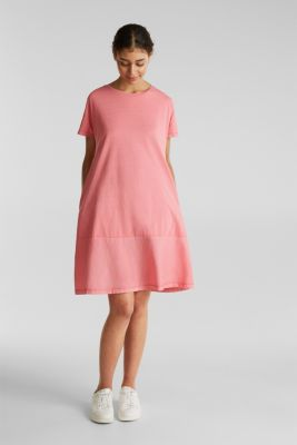 Fabric blend dress with an A-line, CORAL, detail