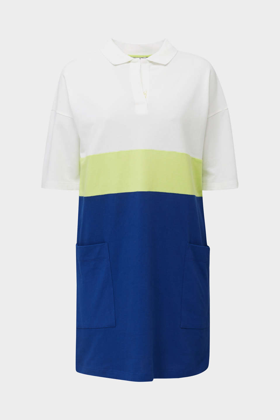 Piqué dress in a colour block style, INK, detail image number 6