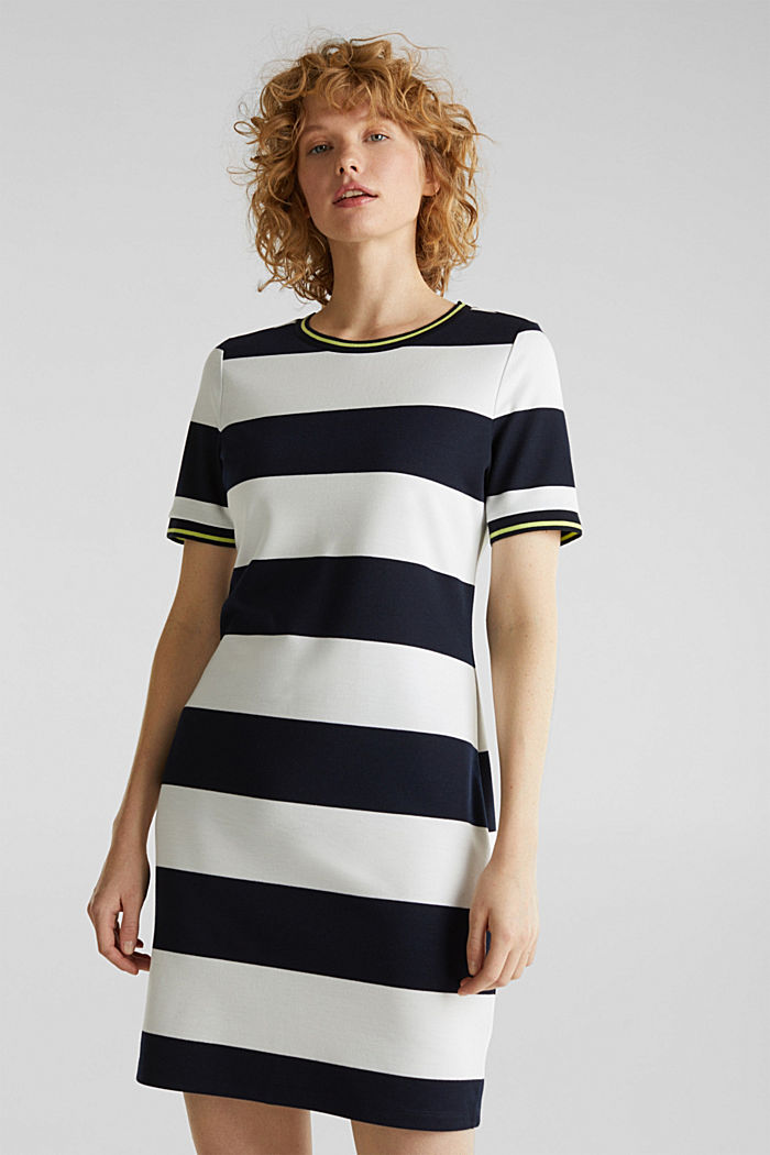 Striped piqué dress, NAVY, detail image number 0