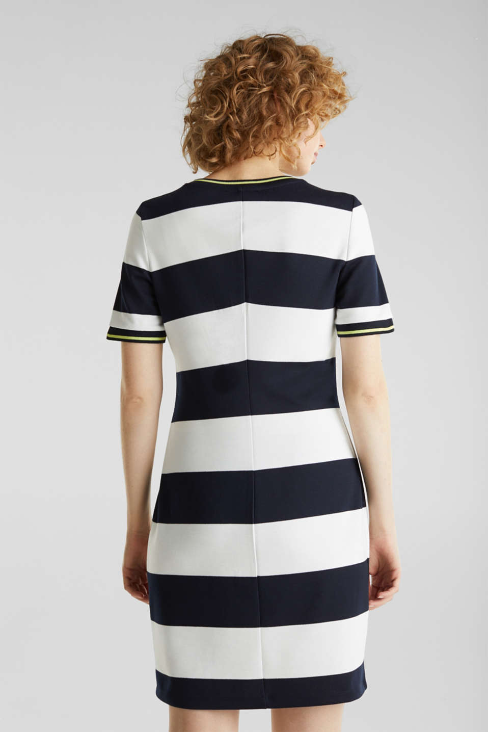 NEON piqué dress with luminous stripes, NAVY, detail image number 2