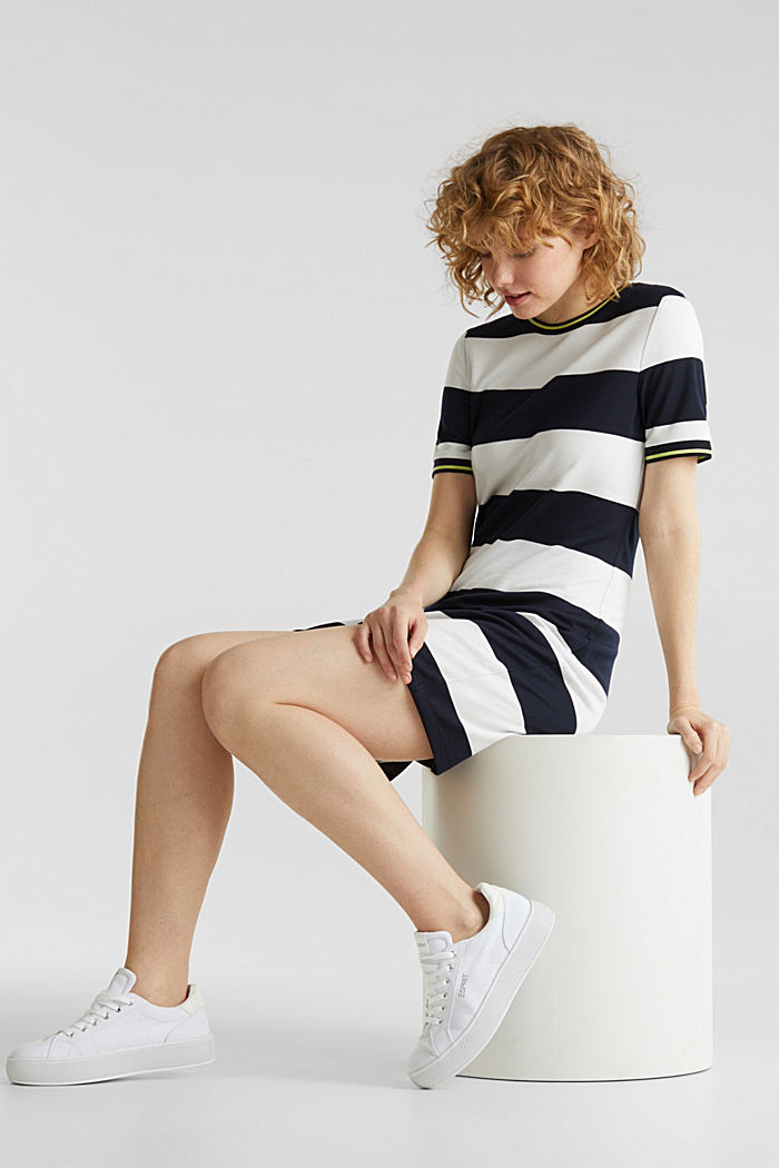 Striped piqué dress, NAVY, detail image number 4