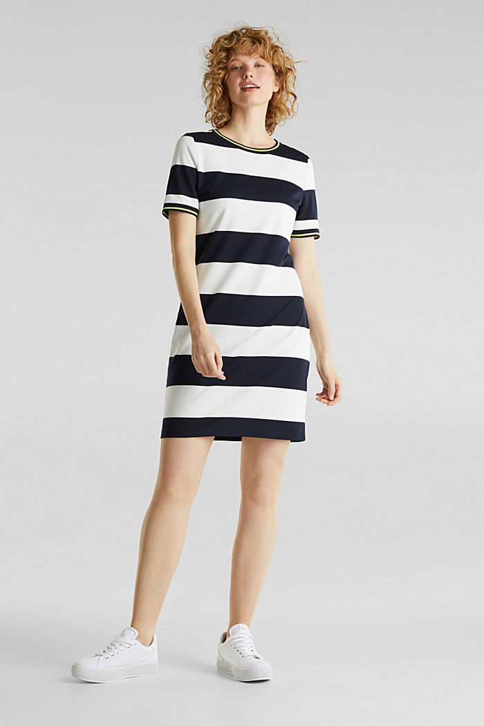 Striped piqué dress, NAVY, detail image number 1