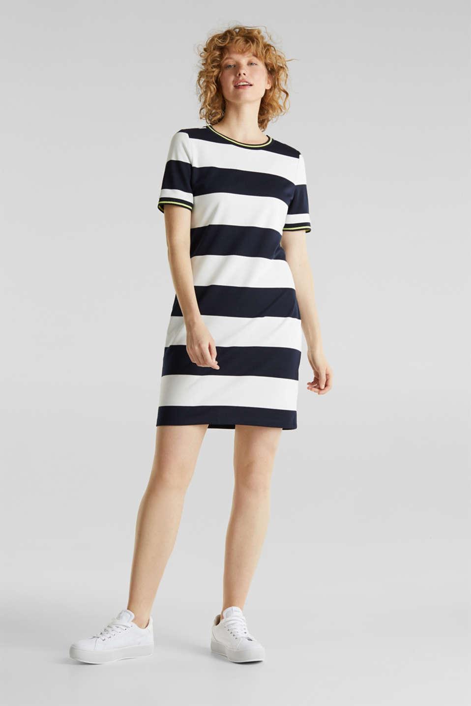 NEON piqué dress with luminous stripes, NAVY, detail image number 1