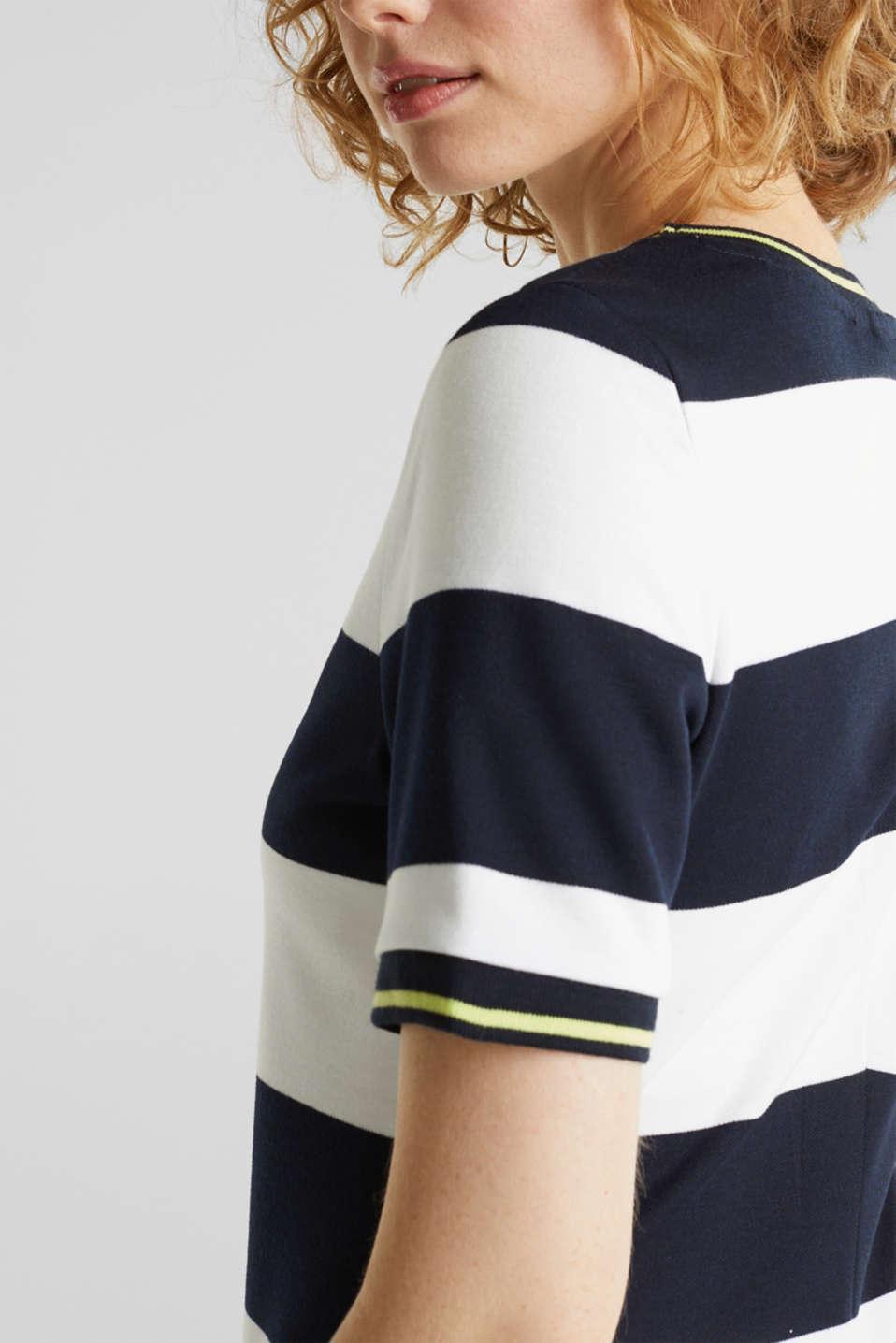 NEON piqué dress with luminous stripes, NAVY, detail image number 3