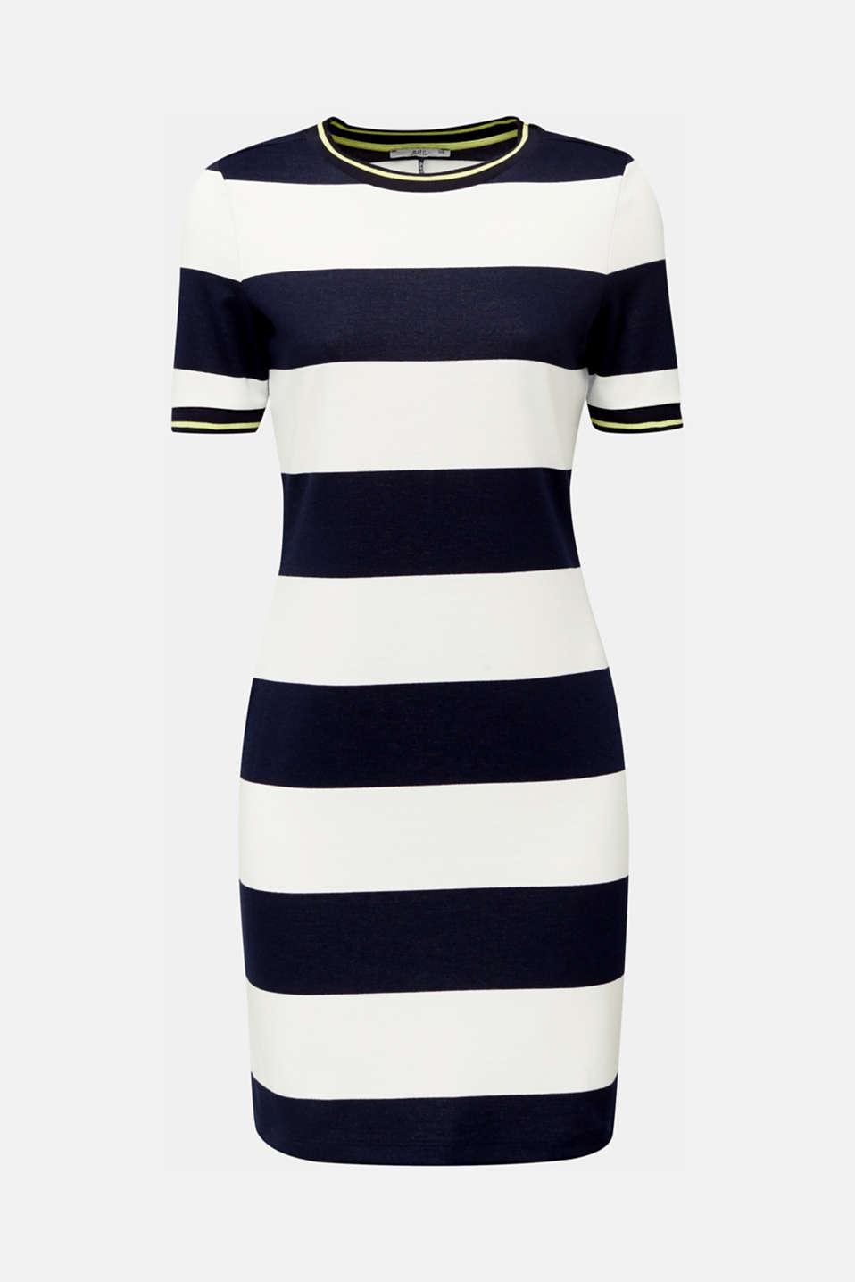 NEON piqué dress with luminous stripes, NAVY, detail image number 6