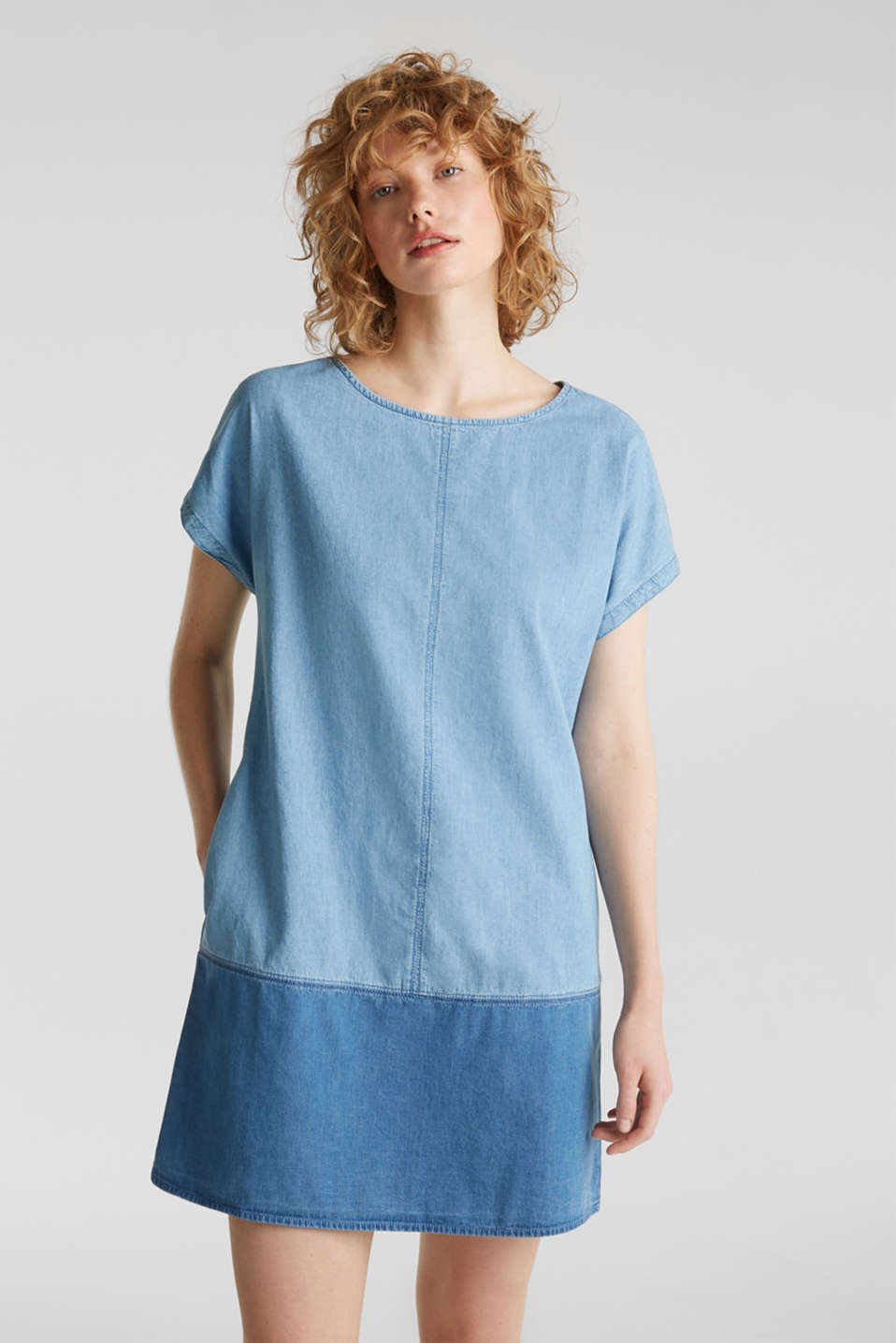 Two-tone denim dress, 100% cotton, BLUE MEDIUM WASH, detail image number 0