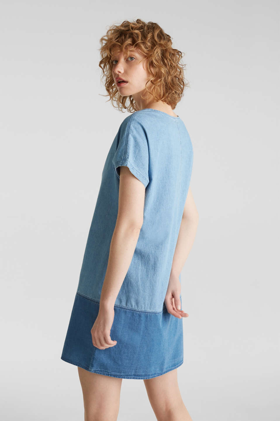 Two-tone denim dress, 100% cotton, BLUE MEDIUM WASH, detail image number 2