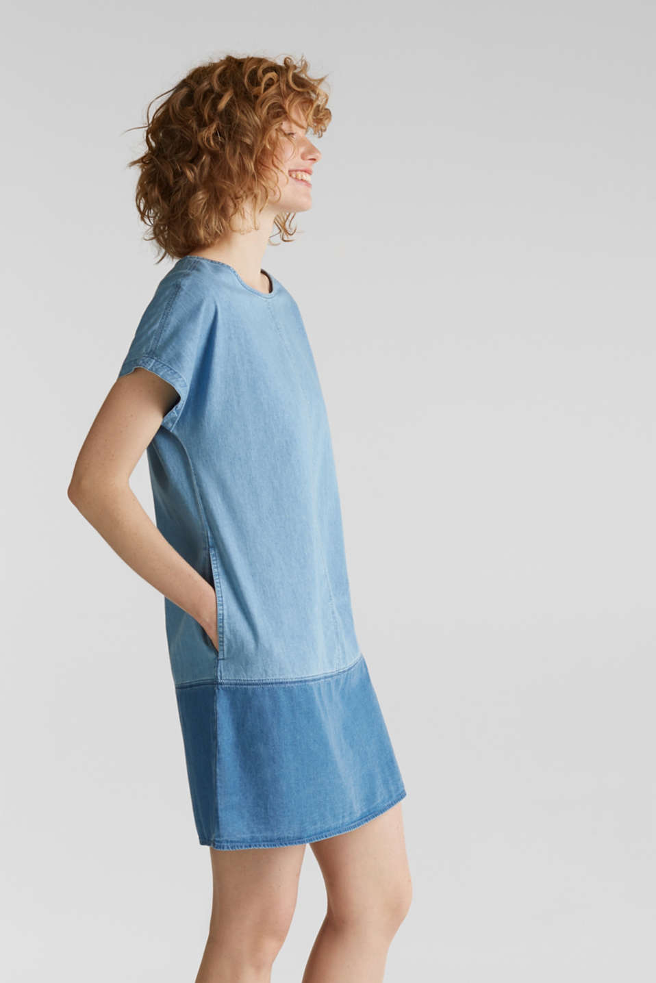 Two-tone denim dress, 100% cotton, BLUE MEDIUM WASH, detail image number 3