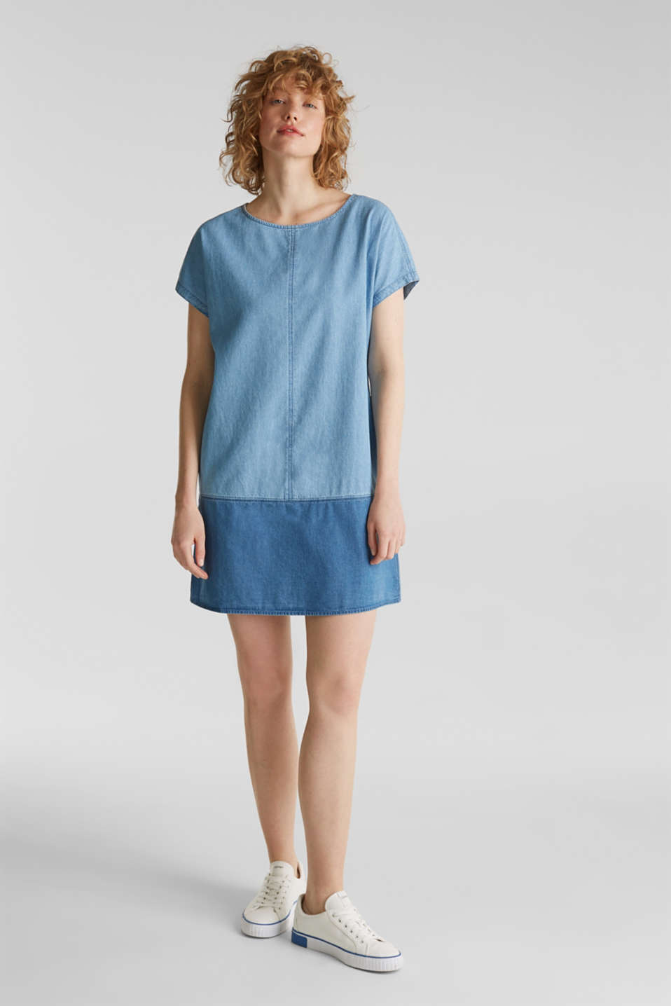 Two-tone denim dress, 100% cotton, BLUE MEDIUM WASH, detail image number 5