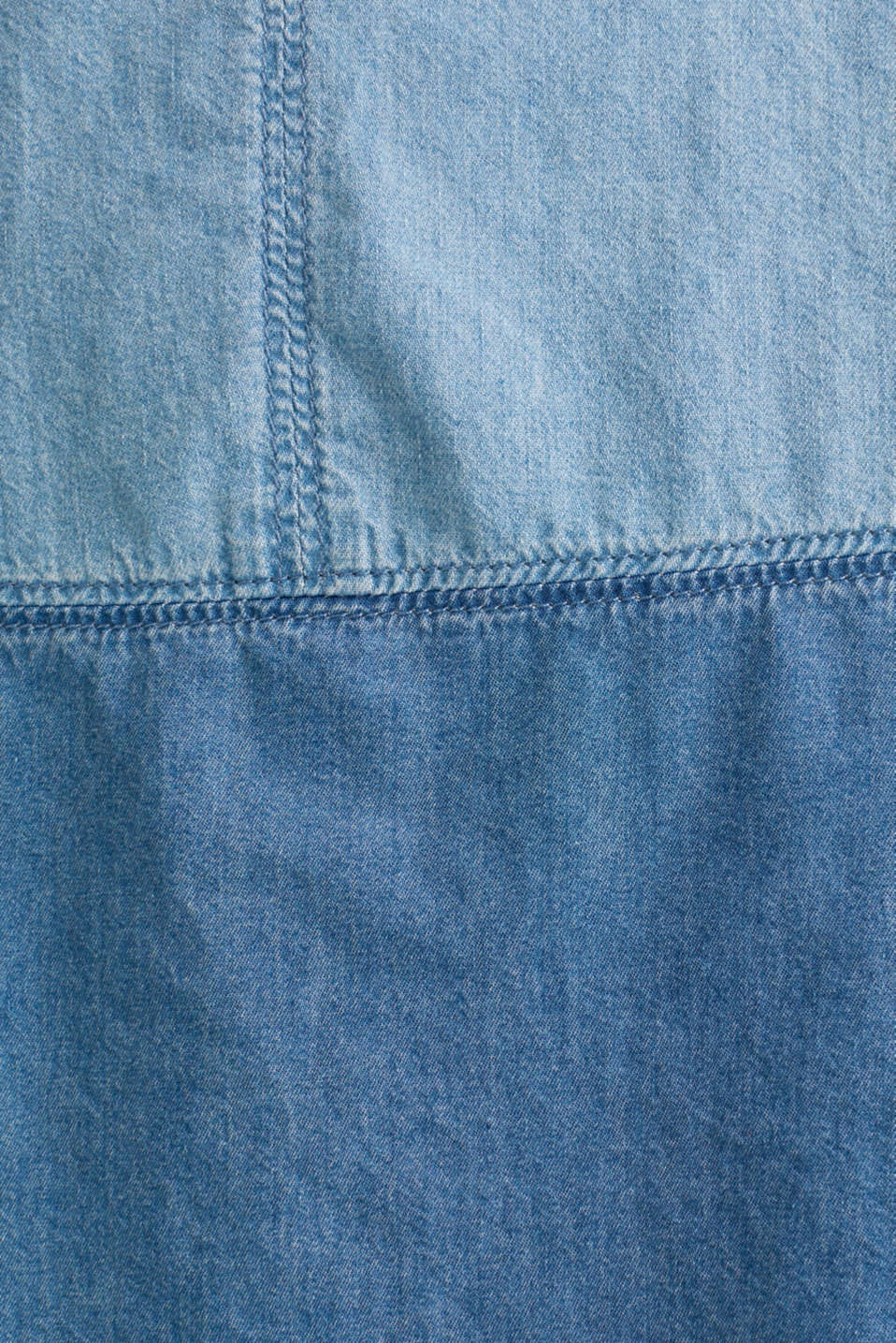 Two-tone denim dress, 100% cotton, BLUE MEDIUM WASH, detail image number 4
