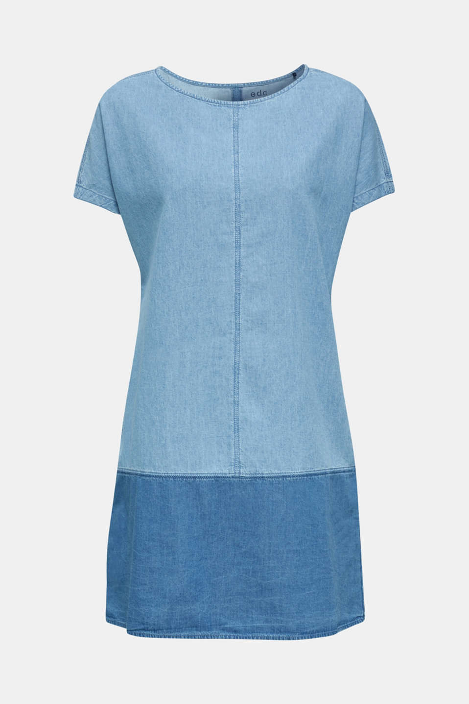Two-tone denim dress, 100% cotton, BLUE MEDIUM WASH, detail image number 7