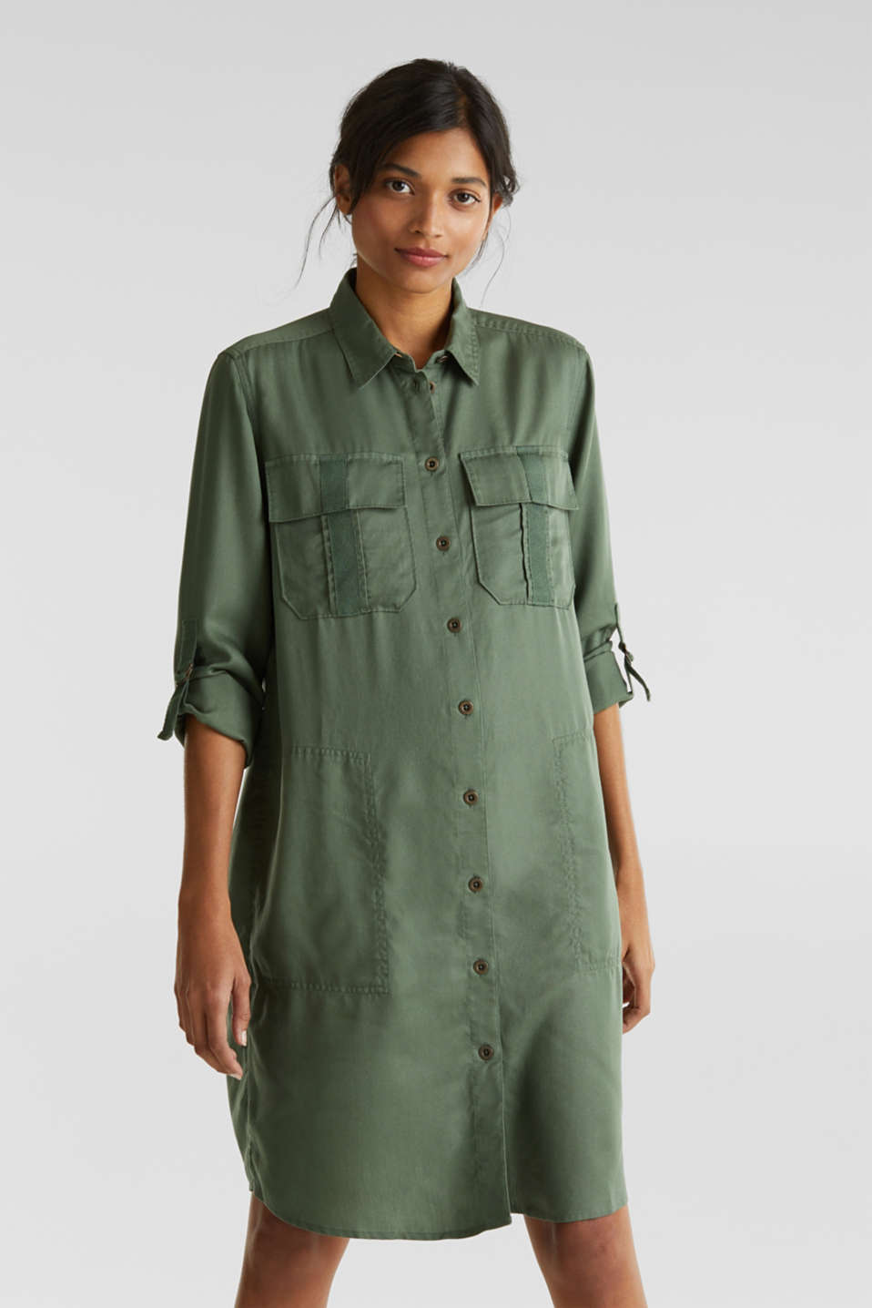 Dress in a utility look, KHAKI GREEN, detail image number 0