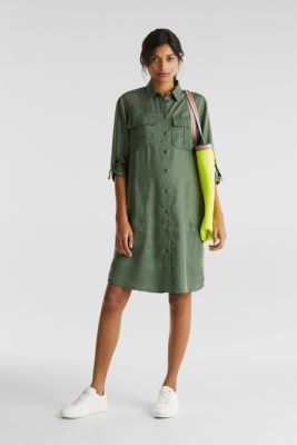 Dress in a utility look, KHAKI GREEN, detail
