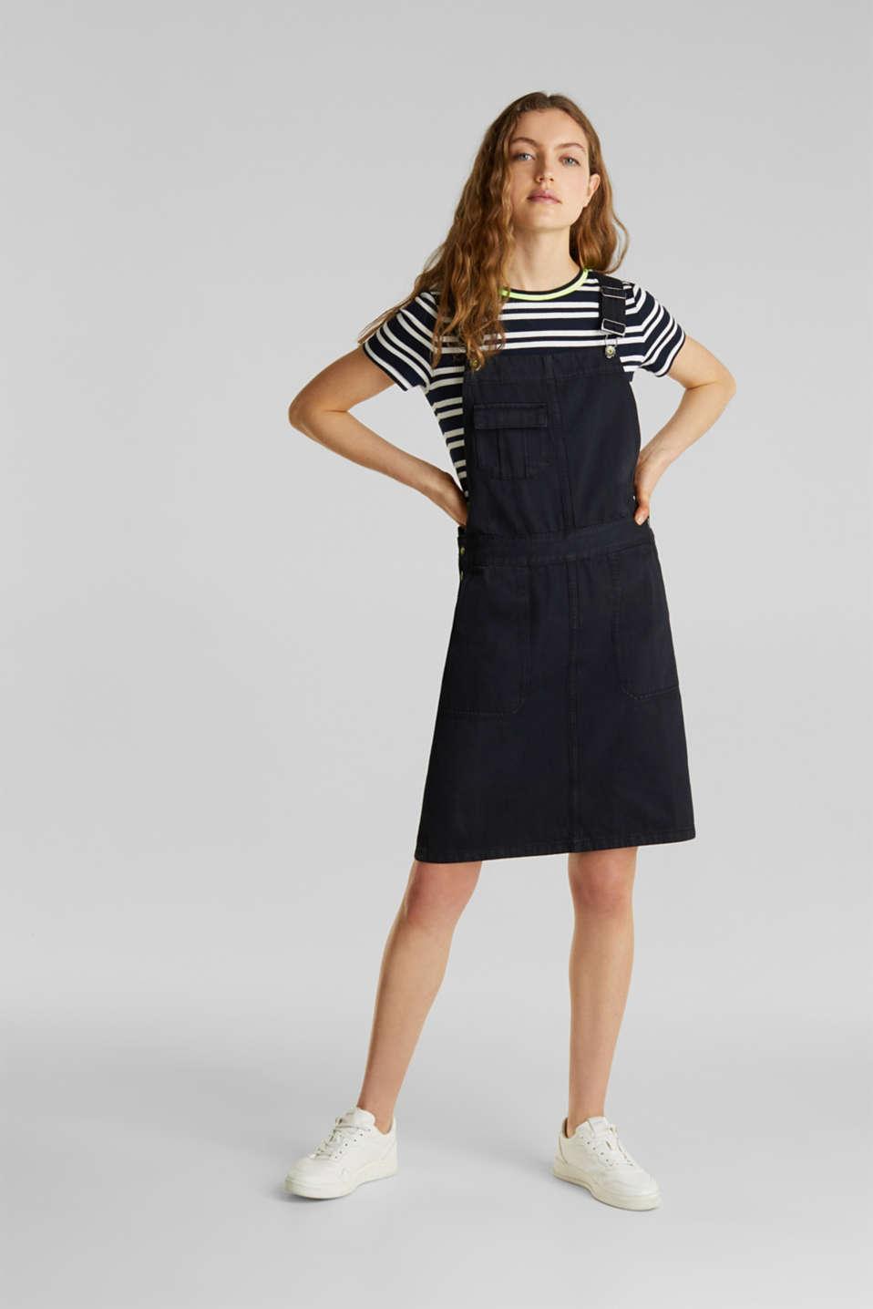 Dungaree skirt with breast pocket, BLACK, detail image number 1