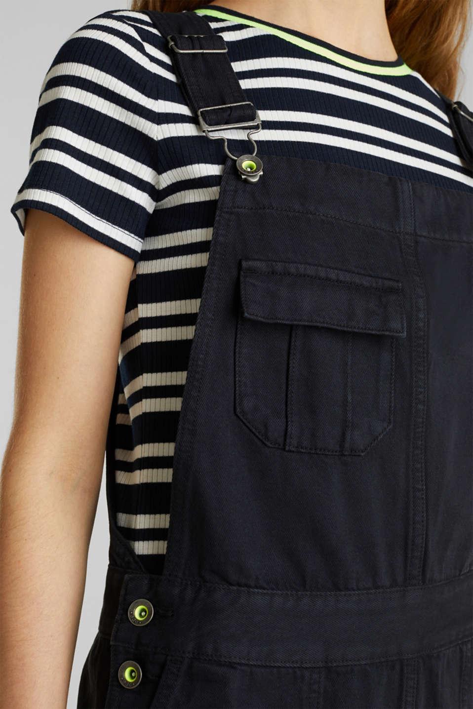 Dungaree skirt with breast pocket, BLACK, detail image number 2