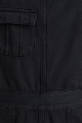 Dungaree skirt with breast pocket, BLACK, detail
