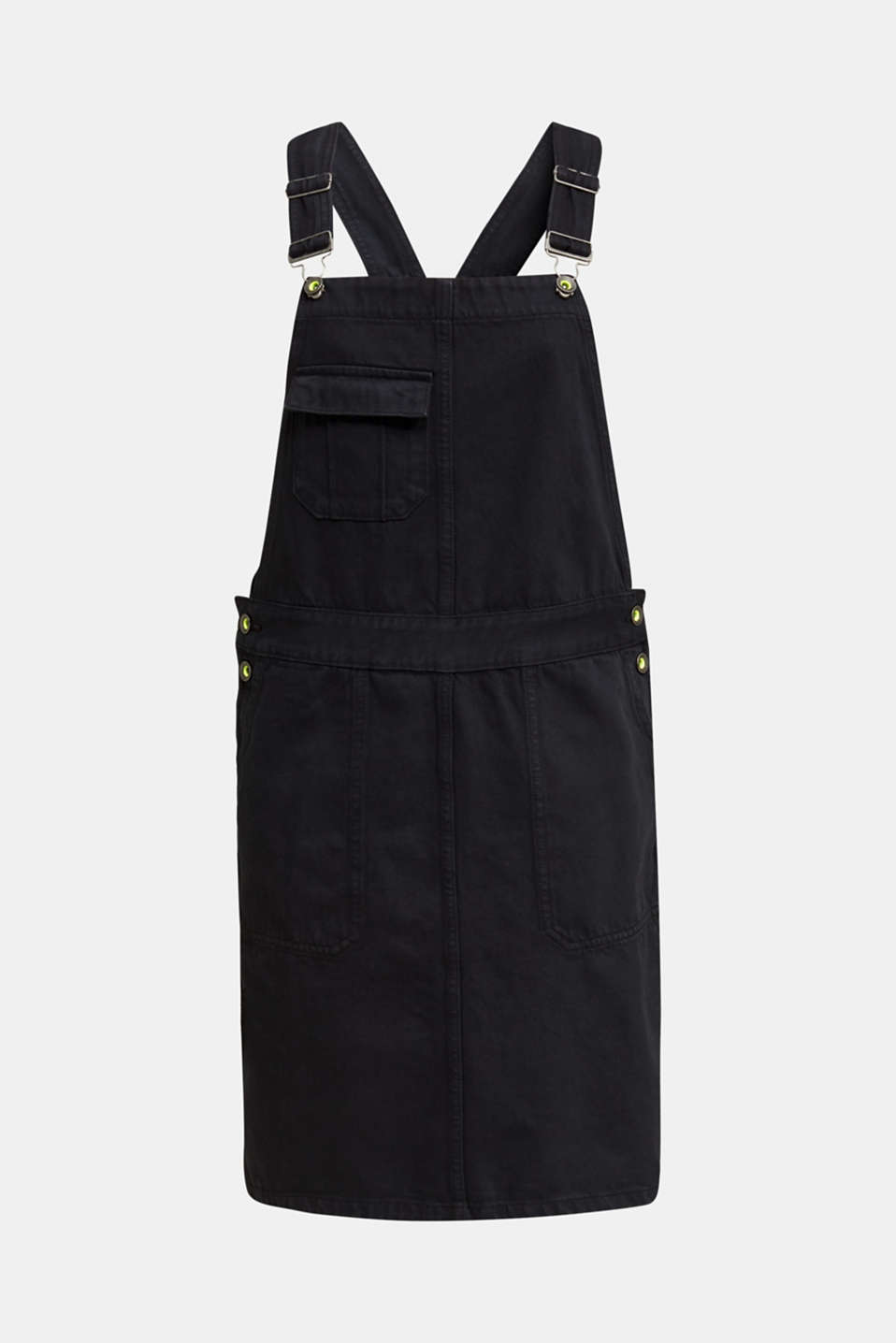 Dungaree skirt with breast pocket, BLACK, detail image number 6