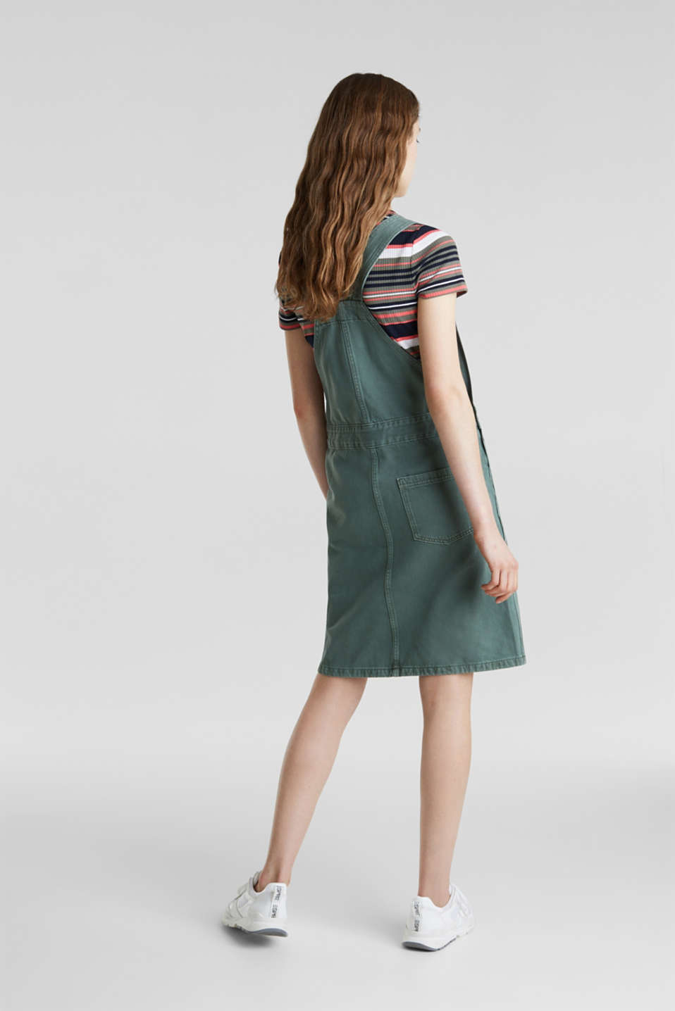 Dungaree skirt with breast pocket, KHAKI GREEN, detail image number 3
