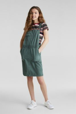 Dungaree skirt with breast pocket, KHAKI GREEN, detail