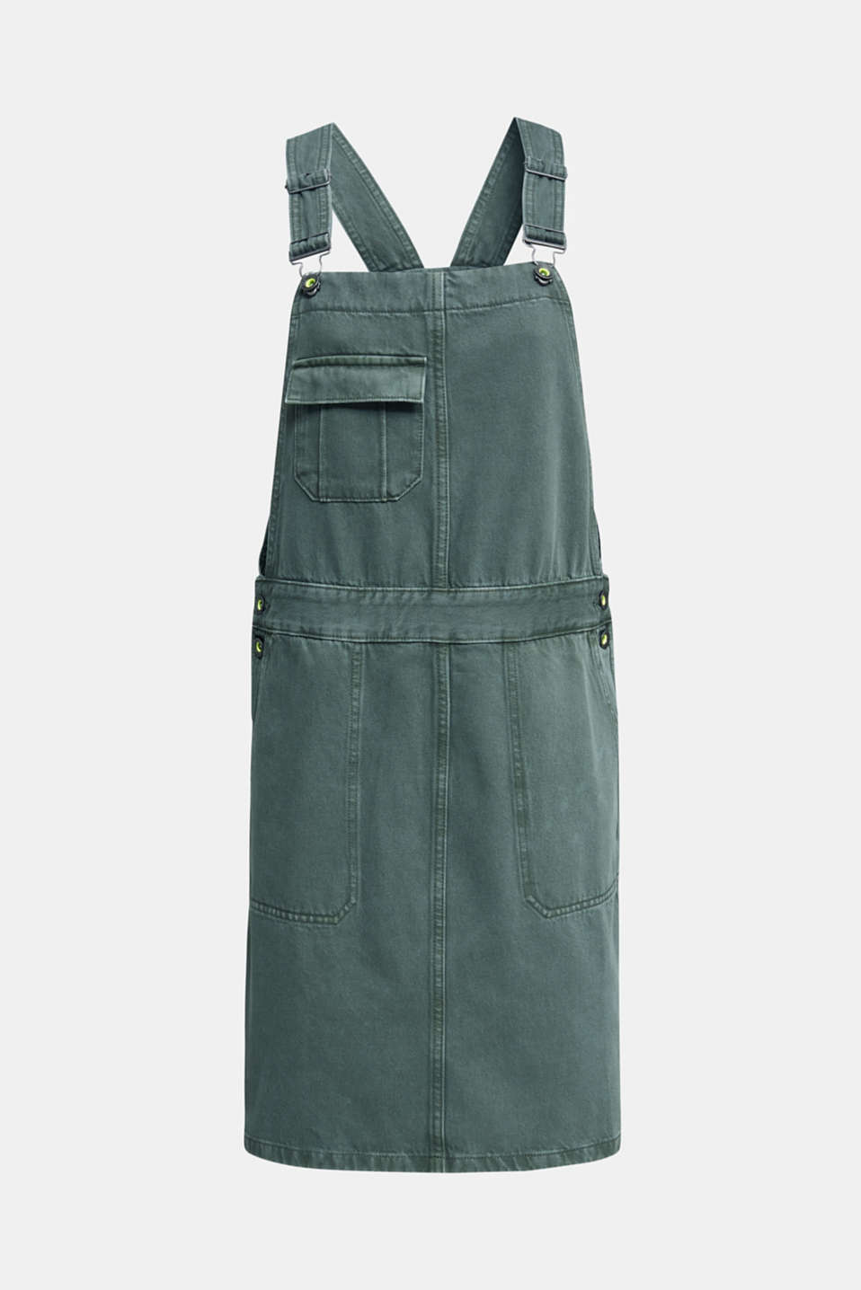 Dungaree skirt with breast pocket, KHAKI GREEN, detail image number 5
