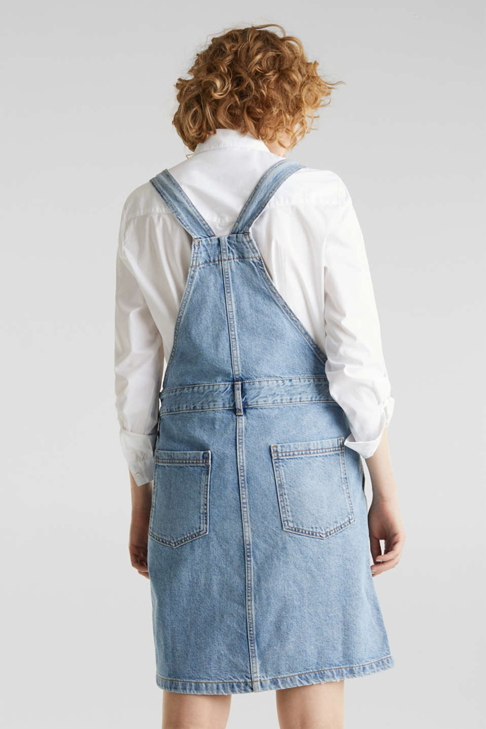 Denim pinafore with organic cotton, BLUE MEDIUM WASH, detail image number 2