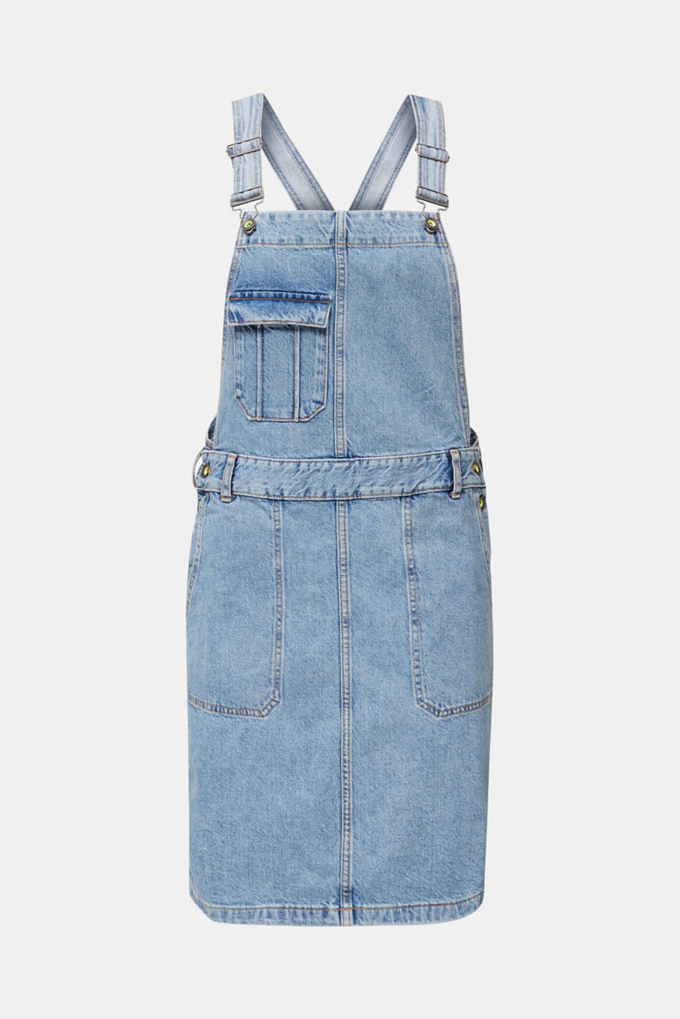 Denim pinafore with organic cotton, BLUE MEDIUM WASH, detail image number 6