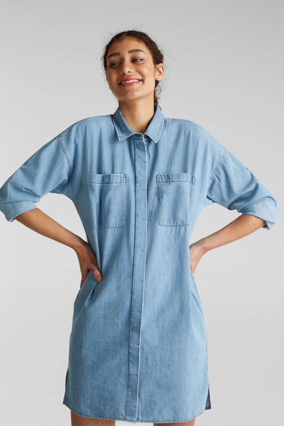 100% cotton denim shirt dress, BLUE LIGHT WASH, detail image number 0