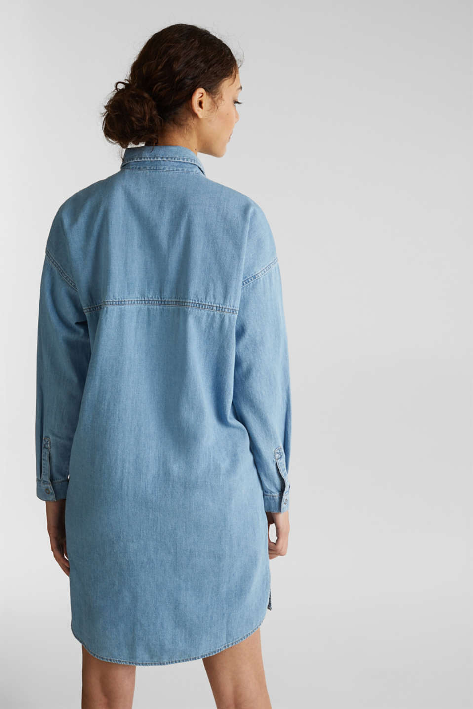 100% cotton denim shirt dress, BLUE LIGHT WASH, detail image number 2