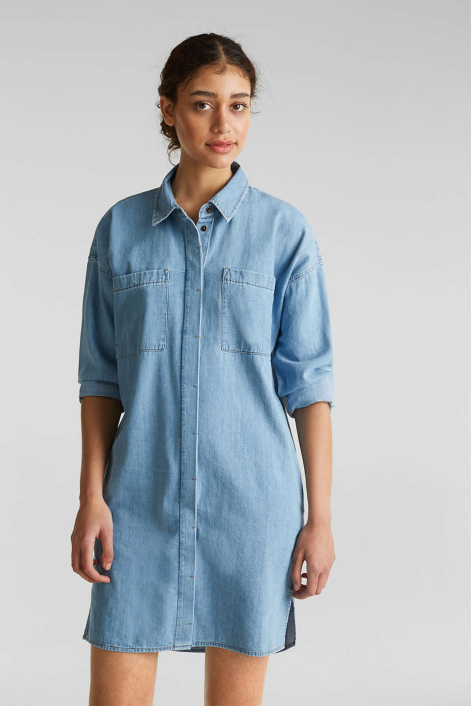100% cotton denim shirt dress, BLUE LIGHT WASH, detail image number 5