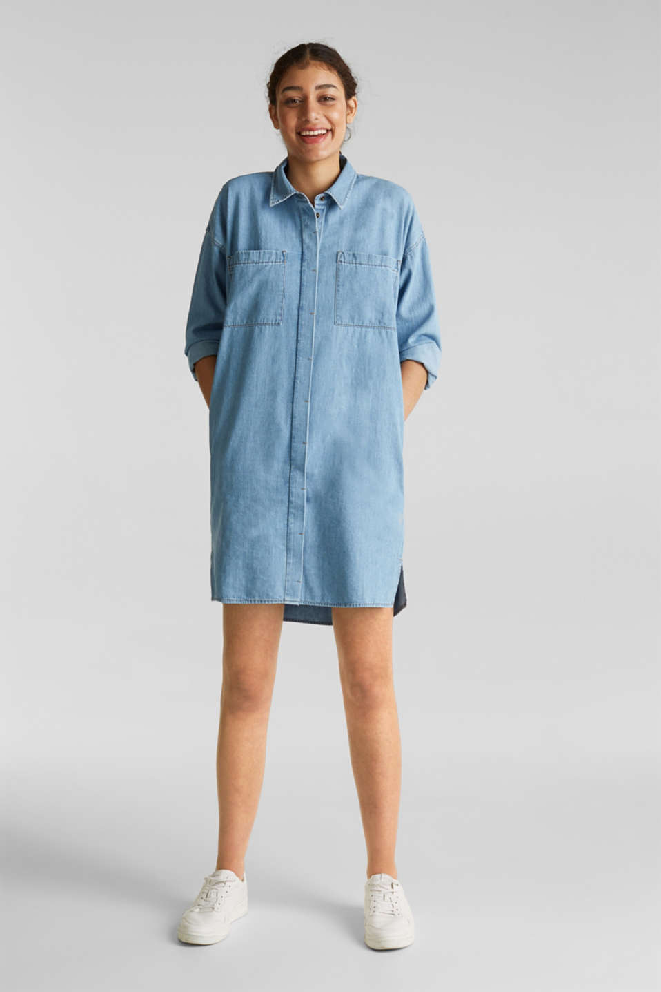 100% cotton denim shirt dress, BLUE LIGHT WASH, detail image number 1