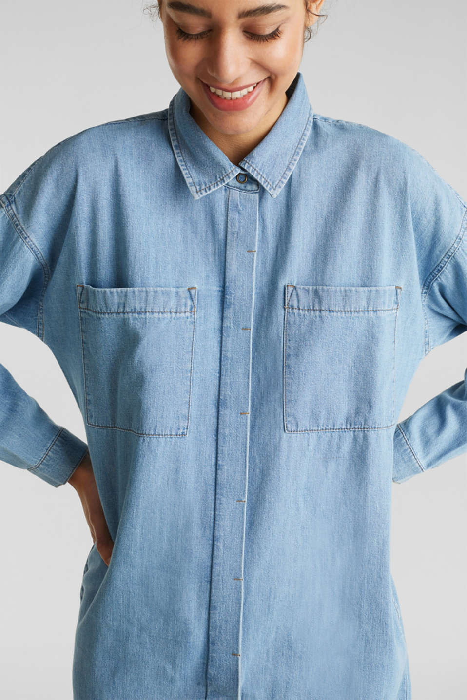 100% cotton denim shirt dress, BLUE LIGHT WASH, detail image number 3