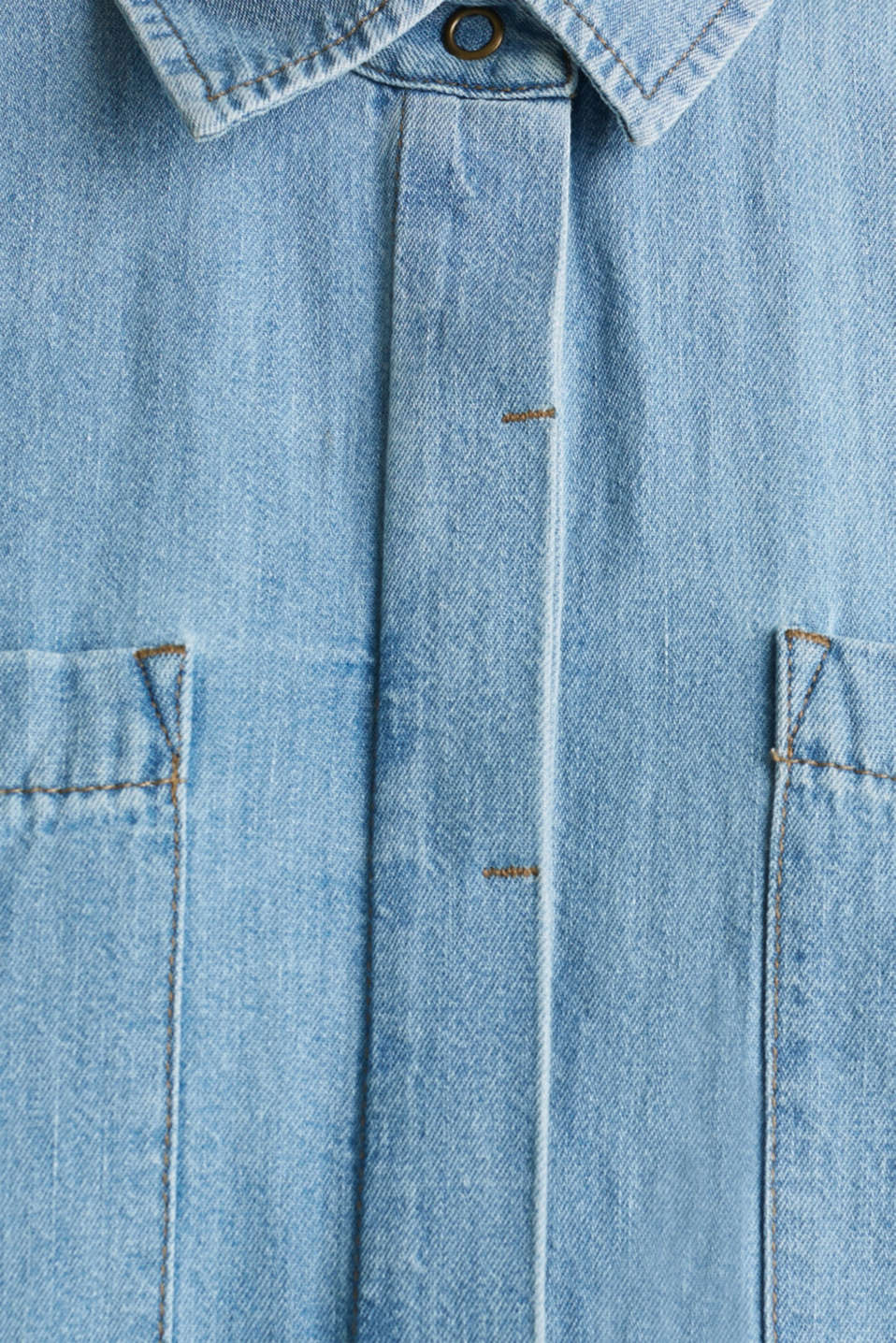 100% cotton denim shirt dress, BLUE LIGHT WASH, detail image number 4